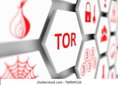 TOR concept cell blurred background 3d illustration