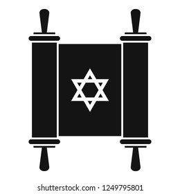 Torah papyrus icon. Simple illustration of torah papyrus icon for web design isolated on white background