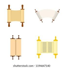 Torah scroll book bible shavuot icons set. Flat illustration of 4 Torah scroll book bible shavuot icons for web