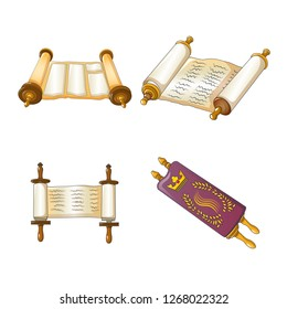 Torah scroll book bible shavuot icons set. Cartoon illustration of 4 Torah scroll book bible shavuot icons for web