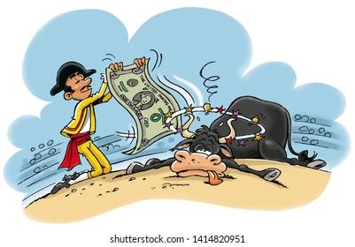 toreador waving at bull with dollar