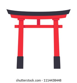 Torii, traditional Japanese gate structure. Isolated illustration in simple flat style.