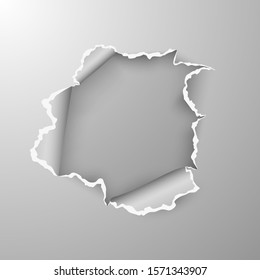 Torn hole in sheet of paper on transparent background with space for text. illustration