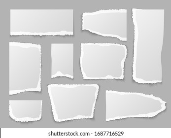 Torn paper. Ripped papers pieces, grainy scrap page. Blank message edges. Crumpled note, memo labels and shape square texture notebook isolated set