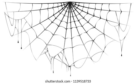 Torn semicircular spider web over white background. Halloween illustration