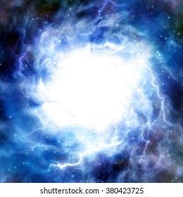 Tornado eye. A bright light on a dark blue background. A high resolution.