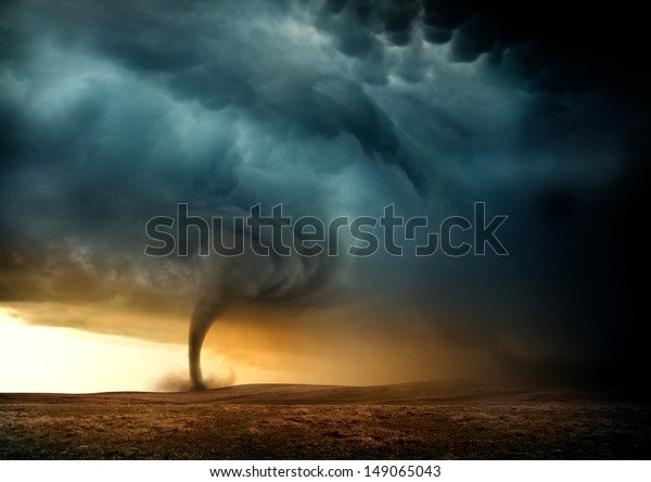 A Tornado forming in the evening from a supercell.