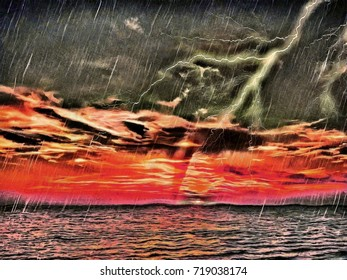 Tornado in the ocean on a sunset background. Lightning beats in a tornado. A big storm is coming. Apocalyptic landscape. Hand drawn painting artwork on canvas. Painted on canvas landscape of the storm