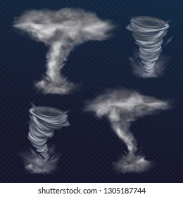 Tornado twister illustration of realistic hurricane wind or cyclone vortex. Dangerous natural disaster whirlwind with dust texture funnel isolated on background