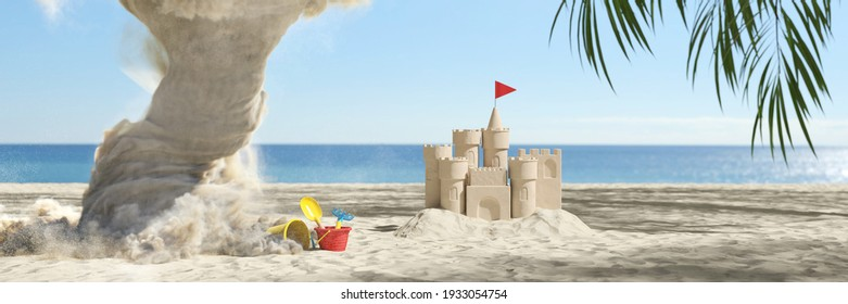 Tornoado on the sandy beach next to sand castle and sand toys in the Caribbean in summer (3d rendering)