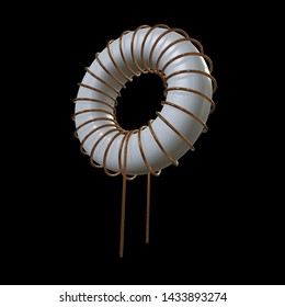 Toroidal Coil Inductor 3d render illustration. Copper wire winding. Magnetic ferrite core.