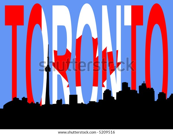 Toronto skyline against Canadian Flag JPG