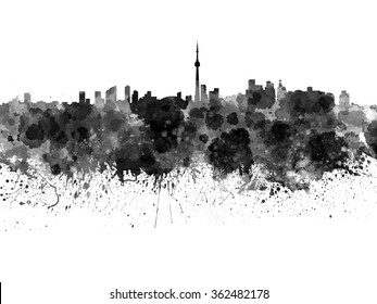 Toronto skyline in black watercolor on white background
