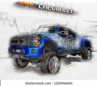 TORONTO,CANADA-February 15,2018: Chevrolet Silverado 1500 is popular American pickup with 6.2 liter V8, 420hp engine.