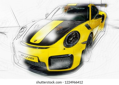 TORONTO,CANADA-february 15,2018:Porsche 911 GT2 RS is the most powerful 911 ever built by Porsche.