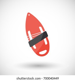 Torpedo buoy icon, Flat design of swimming safety and lifeguard object with round shadow, illustration