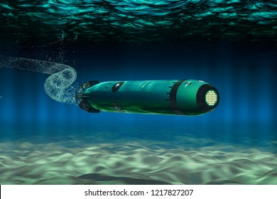 Torpedo Underwater, 3D rendering isolated on white background