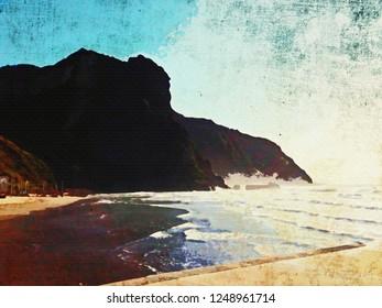 Torregaveta Naples Italy Ocean Cliff Watercolor