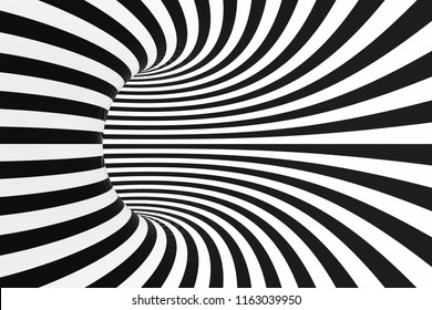 Torus optical 3D illusion raster illustration. Black and white tunnel inside view image. Monochrome hypnotic spiral. Twisting loops pattern. Psychedelic abstract background. Endless visual effect