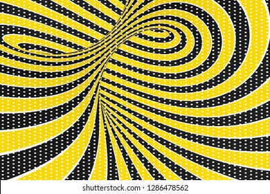 Torus optical 3D illusion raster illustration. Twisting loops and spots pattern. Black, yellow spiral with dots. Infinity effect hypnotic image. Psychedelic, abstract visual art. Contrast swirl, tube