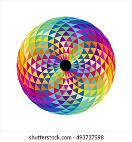 Torus Yantra or the Hypnotic eye.Mathematical pattern. Geometric round pattern. Lacy pattern of intersecting circles