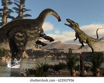 Torvosaurus and apatosaurus dinosaurs fighting - 3D render