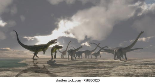 Torvosaurus and Diplodocus Dinosaurs 3d illustration - A Diplodocus dinosaur herd gets very upset as two Torvosaurus dinosaurs kept them from drinking at a watering hole.