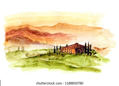 Toscana landscape. Wattercolor illustration with Italy landscape. Italian village in Alpes. Toscana sunset.