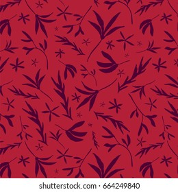 Tossed Floral Monotone Repeat Pattern - Hand Drawn Elements - Monotone Red
