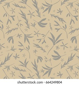 Tossed Floral Repeat Pattern - Hand Drawn Elements  - Grey and Cream