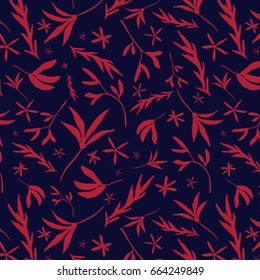 Tossed Floral Repeat Pattern - Hand Drawn Elements - Blue and Dark Pink