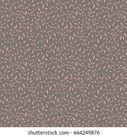 Tossed Leaves Abstract Background Repeat Pattern in Light Pink and Brown - Peach and Brown - Hand Drawn