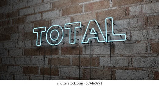 TOTAL - Glowing Neon Sign on stonework wall - 3D rendered royalty free stock illustration.  Can be used for online banner ads and direct mailers.