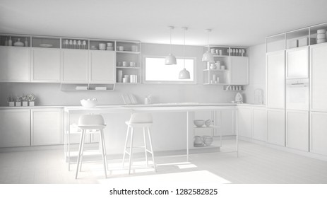 Total white project of kitchen with wooden details and parquet floor, modern pendant lamps, minimalistic interior design concept idea, island with stools and accessories, 3d illustration
