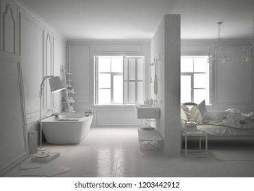 Total white project of luxury bedroom with bathroom in scandinavian style, minimal architecture interior design, 3d illustration