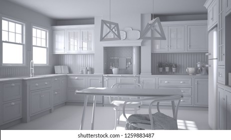 Total white project of scandinavian classic kitchen with dining table and chairs, windows and morning light, vintage cooker and pendant lamps, minimalist interior design, 3d illustration