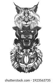 Totem of wild animals: lynx, panther and tiger