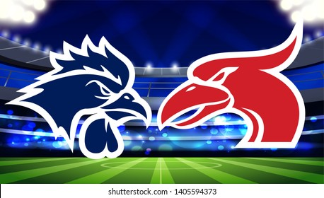 Tottenham Hotspur vs. Liverpool blue rooster and  red gannet/cormorant abstract mascot logos on a soccer field, final match, high resolution illustration