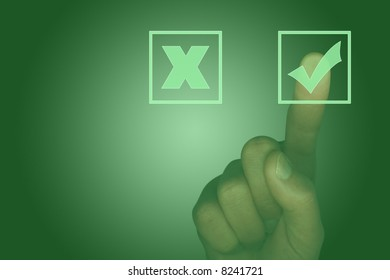 Touch screen with tick box, cross box and finger selecting the tick (illustration)