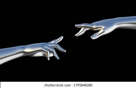 Touching hands illustration. Gesture on black background. chrome metal hands. 3d render illustration