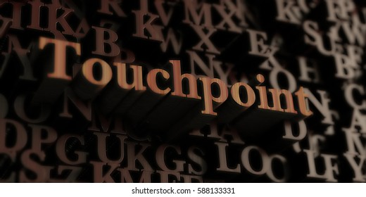 Touchpoint - Wooden 3D rendered letters/message.  Can be used for an online banner ad or a print postcard.