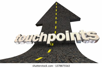 Touchpoints Arrow Rising Word Connect With People 3d Illustration