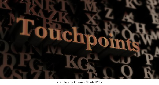 touchpoints - Wooden 3D rendered letters/message.  Can be used for an online banner ad or a print postcard.