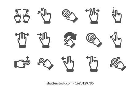 Touchscreen gesture icons. Hand swipe, Slide gesture, Multitasking icons. Touchscreen technology, tap on screen, drag and drop. Classic set. Quality set.