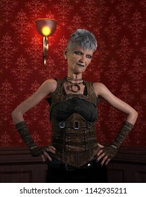 A tough confident older lady - 3D render.