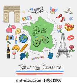 Tour to France icon set.Hand draw doodle sign collection.Paris vacation