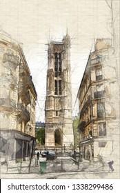 Tour Saint Jacques in Paris seen between buildings, Illustration