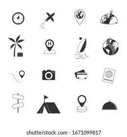 tour and travel icons set illustration
