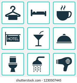 Tourism icons set with bathroom, hairdryer, meal and other blowdryer elements. Isolated  illustration tourism icons.