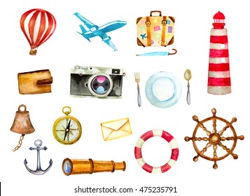 tourism and nautical icons set. watercolor hand painted illustration